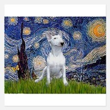 Starry Night/Bull Terrier 5.25 x 5.25 Flat Cards