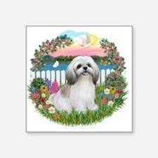"Garden-Shore-Shih Tzu (wt).png Square Sticker 3"" x"