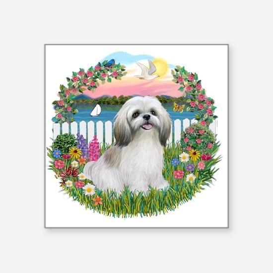 "Garden-Shore-Shih Tzu (wt).png Square Sticker 3"" x"