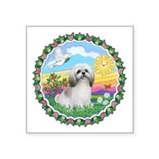 Wreath1-ShihTzu23-cream-tan.png Square Sticker 3""