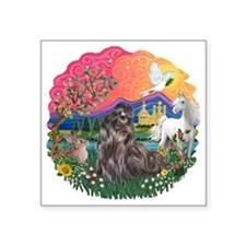 "FantasyLand-ShihTzu24.png Square Sticker 3"" x 3"""