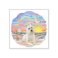 "OceanSunrise-Westie 3L.png Square Sticker 3"" x 3"""
