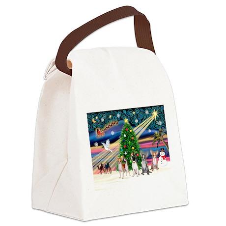 XmasMagic/Chihuahuas Canvas Lunch Bag