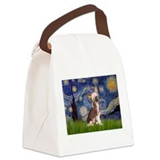 Starry Night/Chinese Crested Canvas Lunch Bag