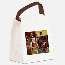 Santa's 2 Chow Chows Canvas Lunch Bag