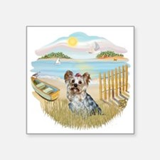 "Rowboat - Yorkie 13.png Square Sticker 3"" x 3"""