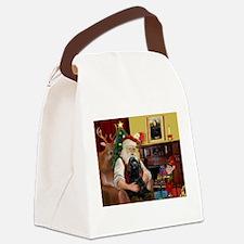 Santa's Black Cocker Canvas Lunch Bag