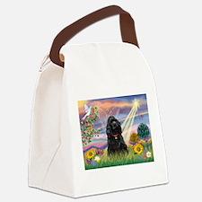 Cloud Angel/Black Cocker Canvas Lunch Bag