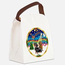 XmasMusic 3/2 Dachshunds Canvas Lunch Bag