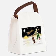 Night Flight/Dobie (red) Canvas Lunch Bag