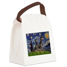 Starry Night / 2 Dobies Canvas Lunch Bag