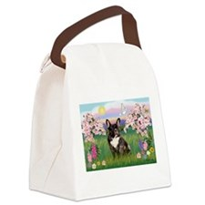 Blossoms & French Bulldog Canvas Lunch Bag