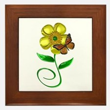 Monarch and Buttercup Framed Tile