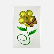 Monarch and Buttercup Rectangle Magnet