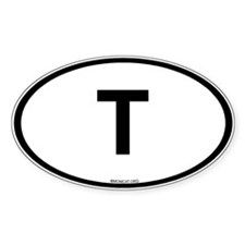 Int'l Country Code Oval Sticker: Thailand T