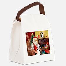 Santa's Great Dane (H) Canvas Lunch Bag