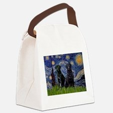 Starry Night / 2 Black Labs Canvas Lunch Bag