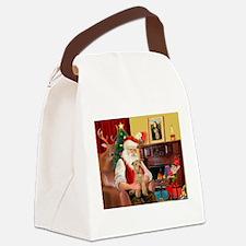 Santa/Lakeland Terrier Canvas Lunch Bag