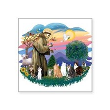 """St Francis 2 - 7 Cats.png Square Sticker 3"""" x 3"""""""