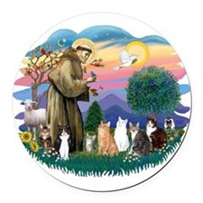 St Francis 2 - 7 Cats.png Round Car Magnet