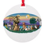 St. Fran (Ov)-Dogs-Cats-Hrs Round Ornament