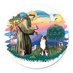 St.Francis #2/ Aus Shep (tri) Round Car Magnet