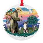 St.Francis #2/ Aus Shep (tri) Round Ornament