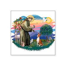 "St Francis #2/ Basenji Square Sticker 3"" x 3"""