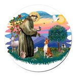 St Francis #2/ Basenji Round Car Magnet