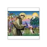 "St Francis/Beagle Square Sticker 3"" x 3"""