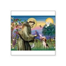 "St Francis/Beagle Square Sticker 3"" x 3"""