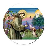 St Francis/Beagle Round Car Magnet
