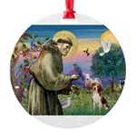 St Francis/Beagle Round Ornament