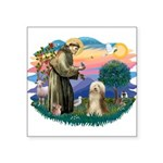 St.Francis #2/ Bearded Colli Square Sticker 3&quot