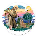 St.Francis #2/ Bel Malanois Round Car Magnet