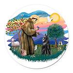 St.Francis #2/ Belgian Shep Round Car Magnet