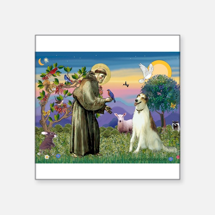 "St Francis & Borzoi Square Sticker 3"" x 3"""