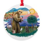 St Francis #2/ Cairn (br) Round Ornament