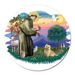 St Francis #2/ Cairn Ter Round Car Magnet