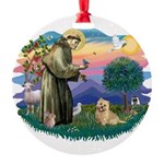 St Francis #2/ Cairn Ter Round Ornament