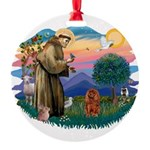 St.Fran #2/ Cavalier (r) Round Ornament