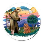 St Francis #2/ Chow (R) Round Car Magnet