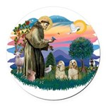 St.Francis #2/ Cockers (2buff Round Car Magnet