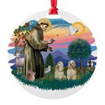 St.Francis #2/ Cockers (2buff Round Ornament
