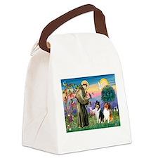 St Francis / Collie Pair Canvas Lunch Bag
