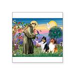 St Francis / Collie Pair Square Sticker 3