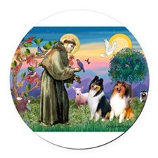 St Francis / Collie Pair Round Car Magnet