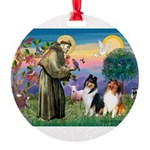 St Francis / Collie Pair Round Ornament
