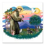 St.Fran #2/ Dachshund (BT) Square Car Magnet 3&quo