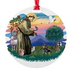 St.Fran #2/ Dachshund (BT) Round Ornament